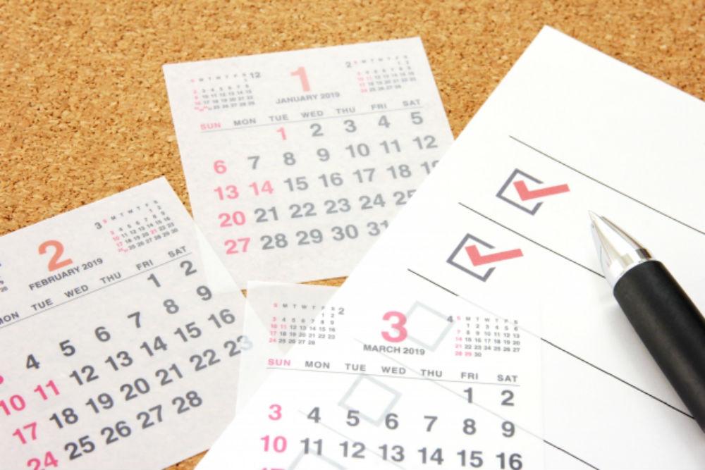 スケジュール表とカレンダー